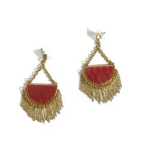 House of Harlow Red Crescent Tasseled Earrings